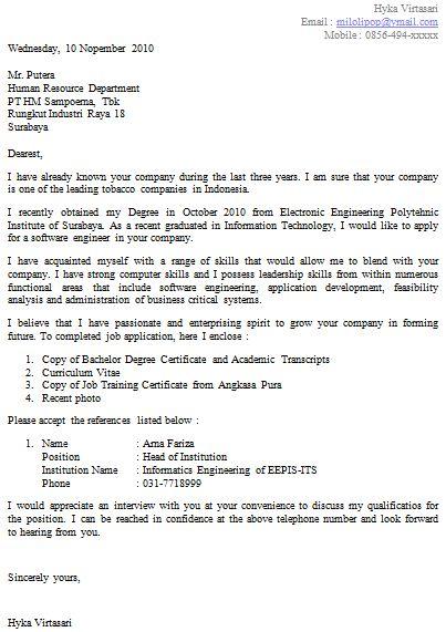 Contoh Cv Dan Application Letter Dalam Bahasa Inggris